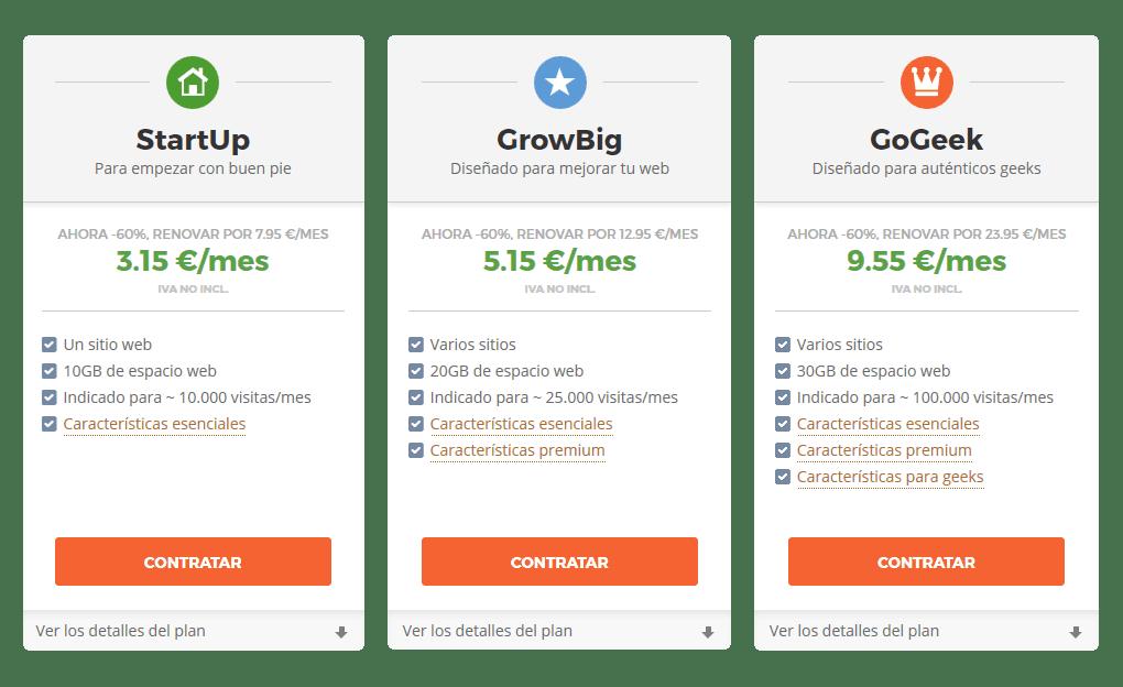 Planes de hosting Siteground