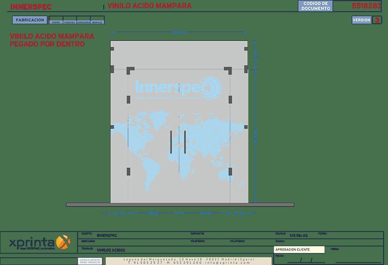 Boceto puerta de oficina en cristal con vinilo